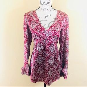 🐌 Sundance silk long sleeve floral blouse top P14